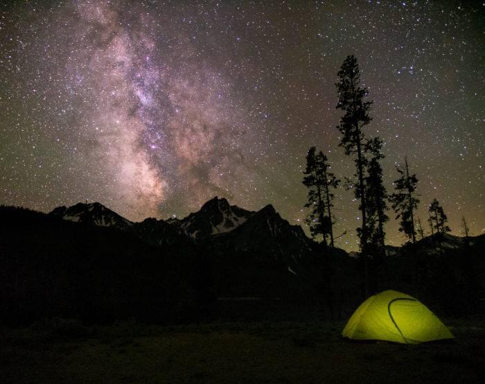 tent under night sky in stanley