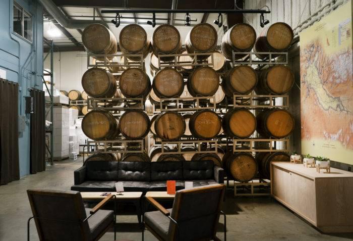 wine barrels in cinder tasting room