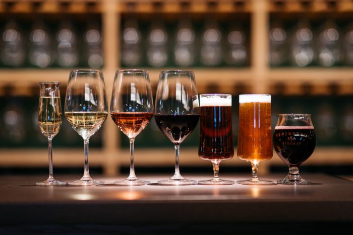 variety of wine glasses with drinks
