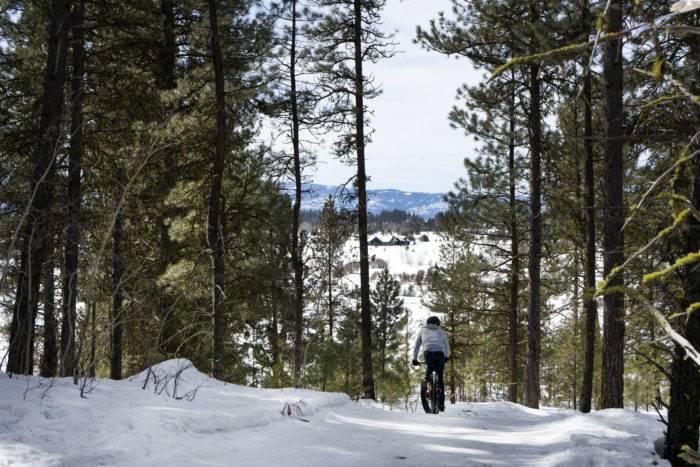 fat bike rider in snow in mccall