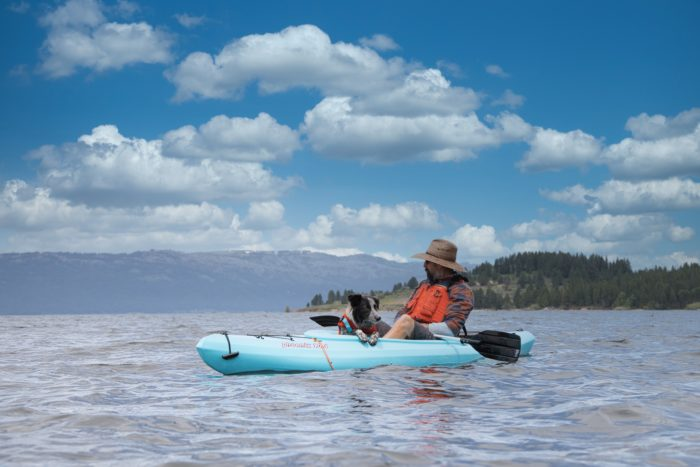 kayaker on lake cascade