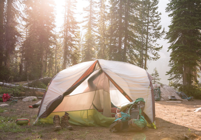 person tent camping