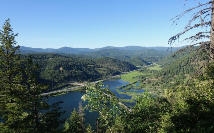 large scenic view from mountain trail