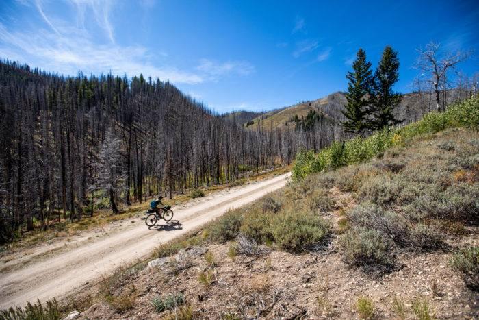 cyclist on mountain trail