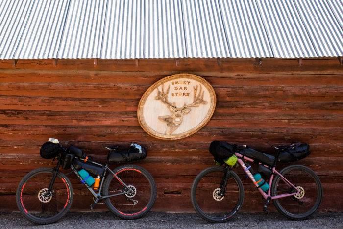 mountain bikes outside restaurant