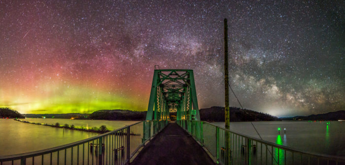 northern lights with bridge in foreground