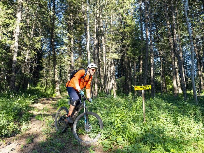 mountain bike rider at Kelly Canyon Ski Resort