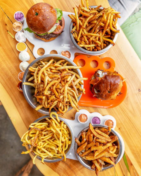 french fries and hamburgers