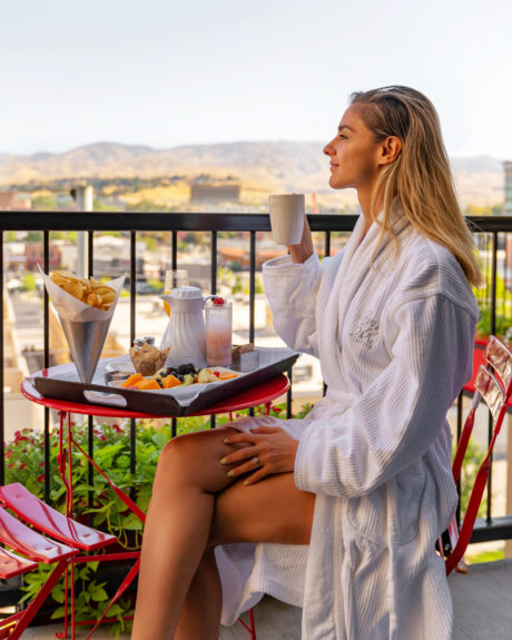 woman on outdoor patio