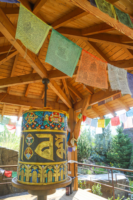 prayer wheel at sawtooth botanical garden