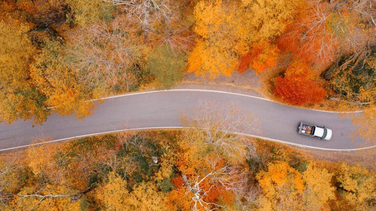Driving on a winding road through fall-colored trees near Coeur d'Alene