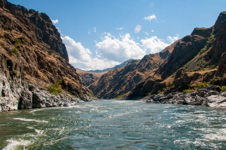 water and rock walls of Hells Canyon