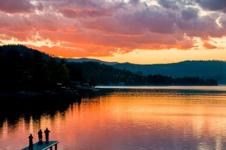 Lake Pend Oreille water at sunset