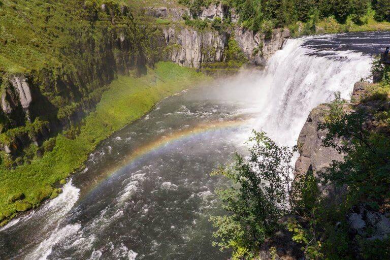mesa falls waterfall with rainbow