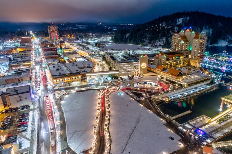 coeur d'Alene resort and surrounding area lit up with holiday lights