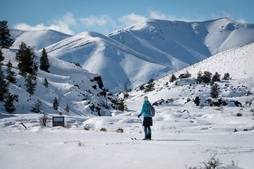 woman cross country skiing at Craters of the Moon