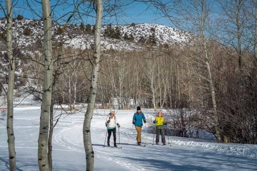three people cross country skiing near Pocatello