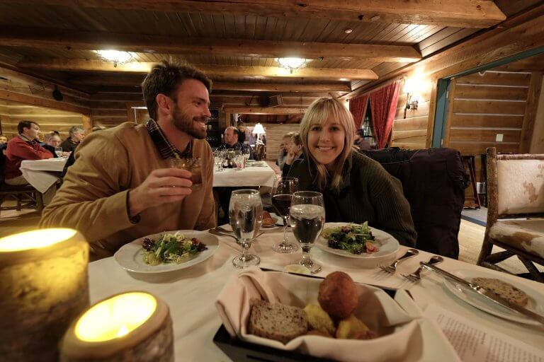 a man and woman at intimate dinner