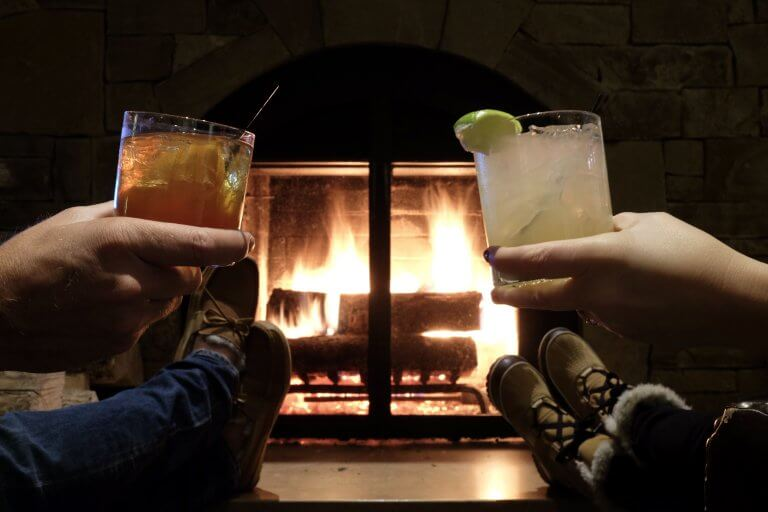 cocktails by the fire