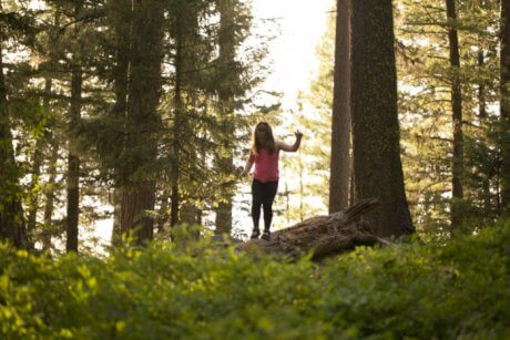 Young girl walks along a fallen tree in Ponderosa State Park.