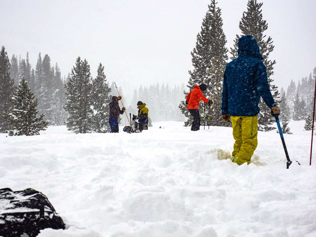 people at avalanche training school