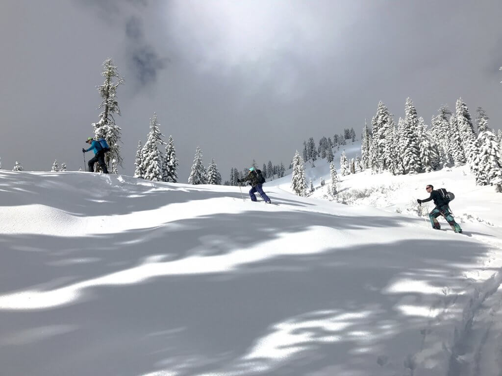 three people in the snow with skis