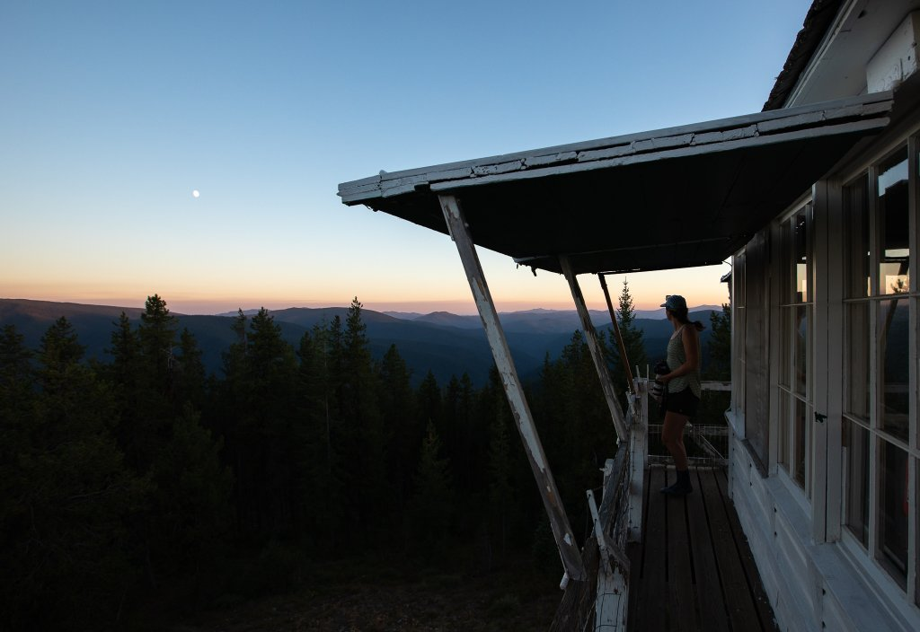 view from fire lookout at dusk