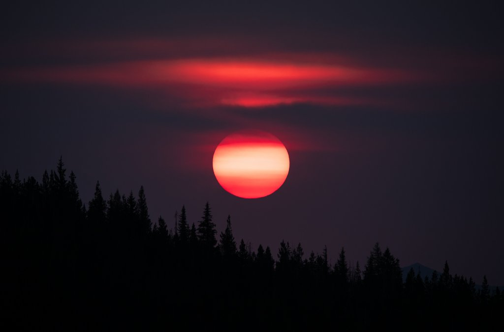 bright pink sunrise from fire lookout