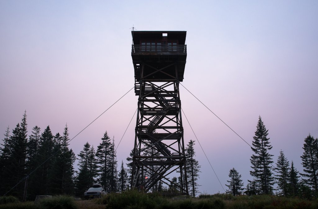 view of fire lookout from the ground