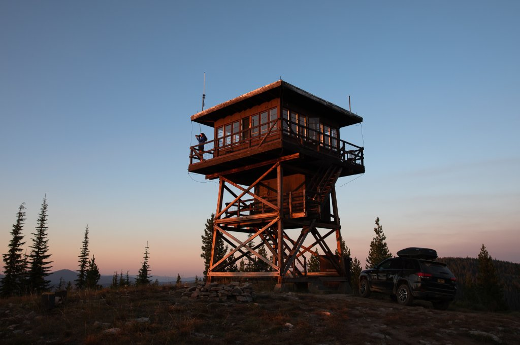 exterior of fire lookout at sunset