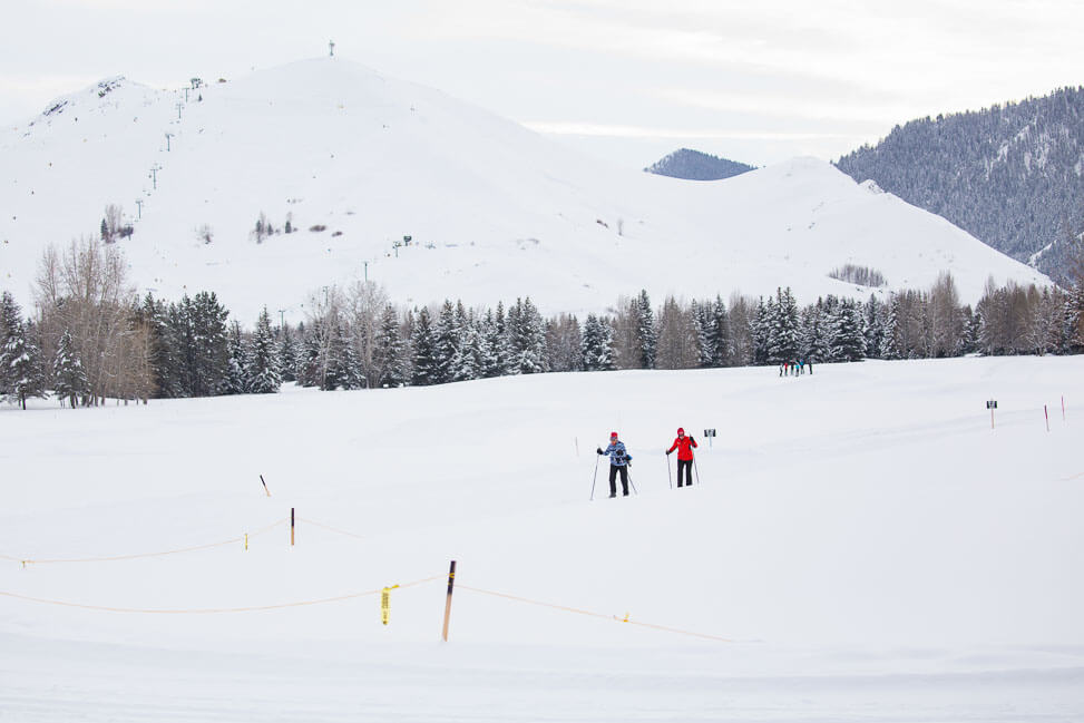 people crosscountry skiing