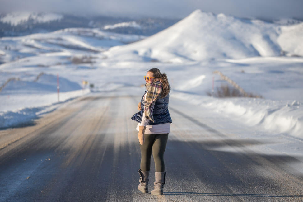woman on snowy road