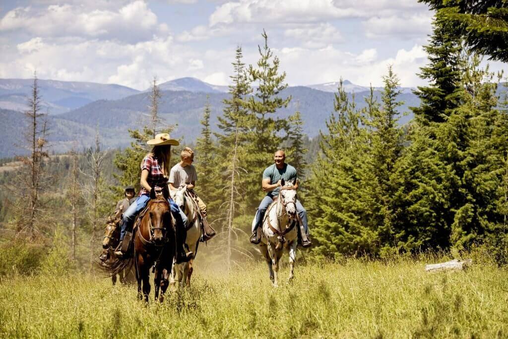three people riding horseback through a field