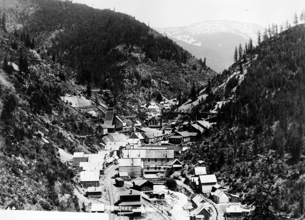 historical photo of mining town of burke in 1892