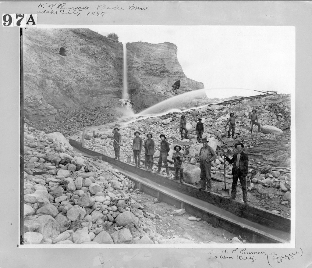 historical photo of mine workers in idaho city