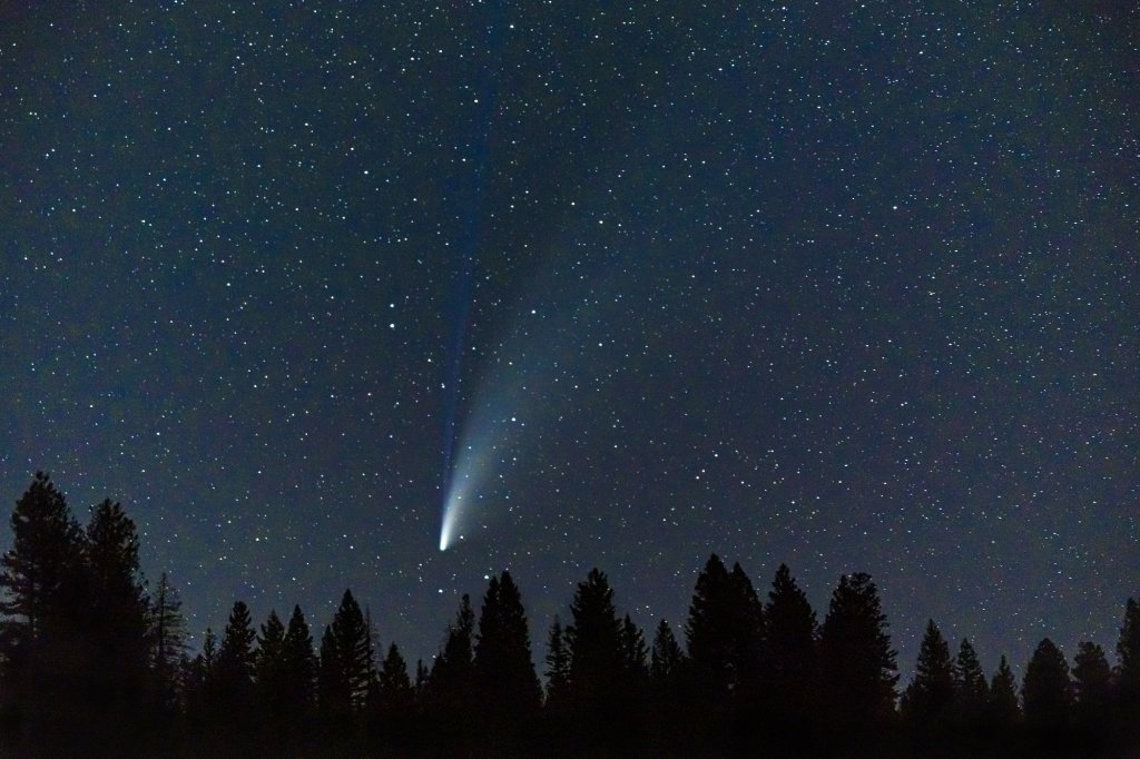 The Comet Neowise shoots across the night sky in the Central Idaho Dark Sky Reserve