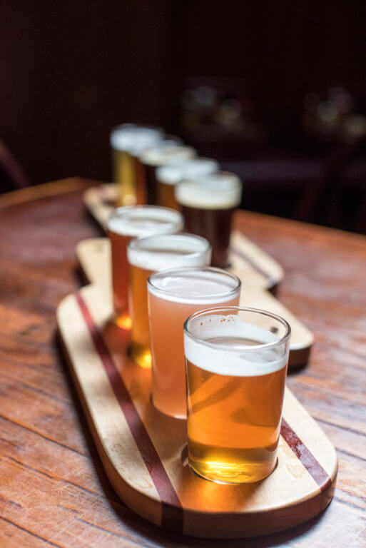 flight of beer samples