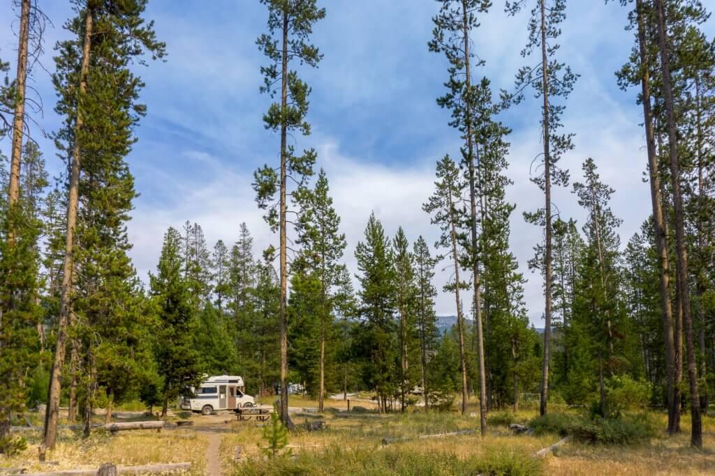 camper in scenic camping spot