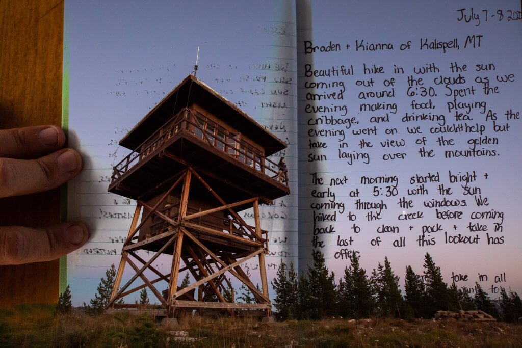 photo of fire lookout and log book page
