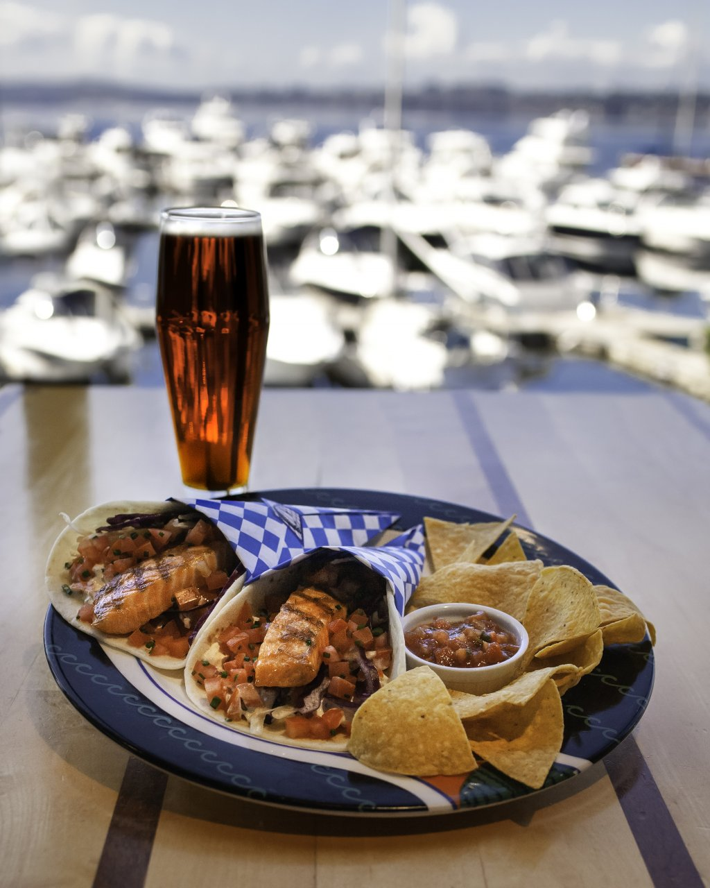 salmon tacos with pint of beer