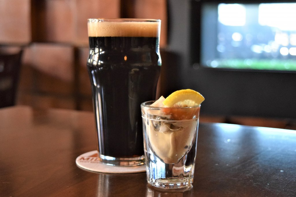 pint of beer with oyster shooter