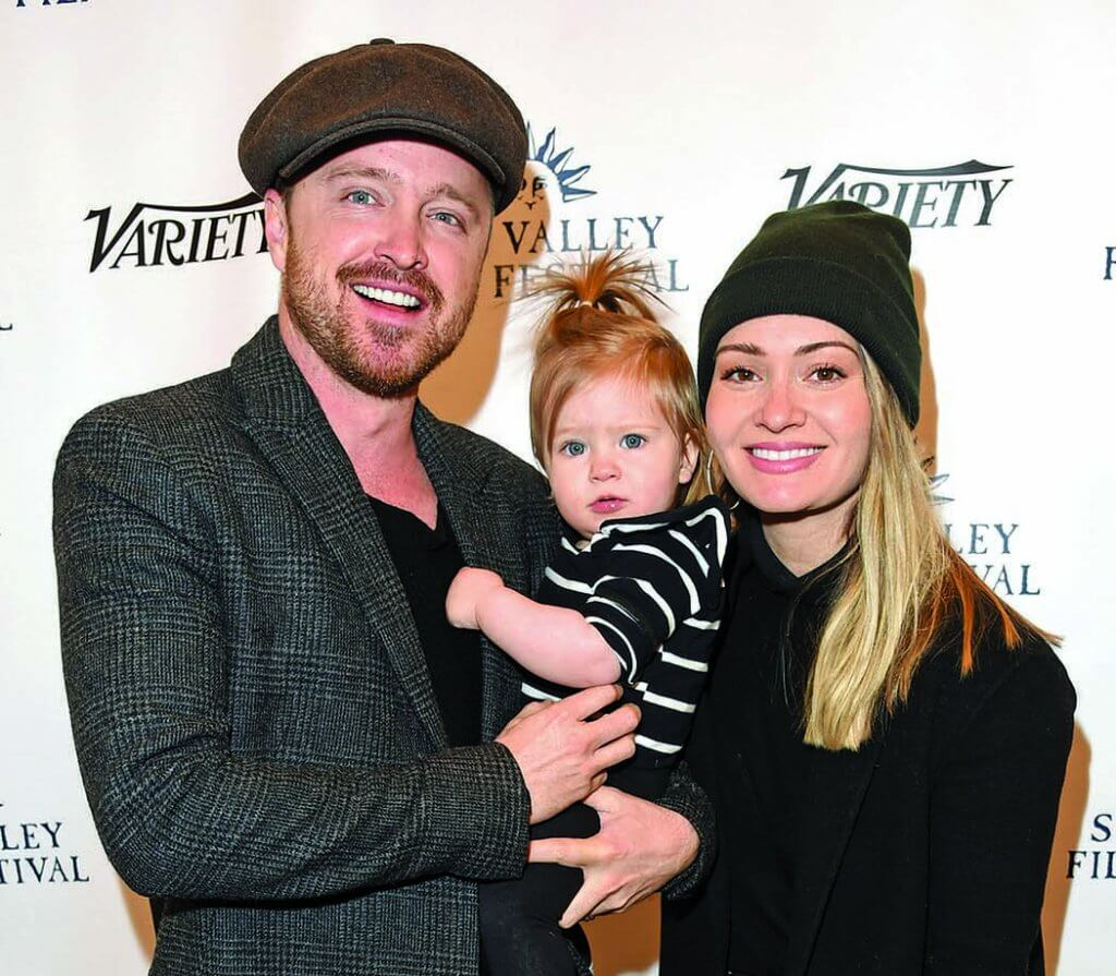 Aaron Paul with his wife and daughter