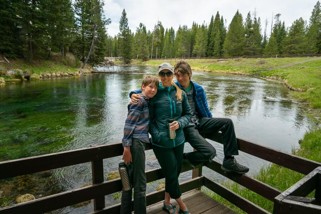 family in front of big springs
