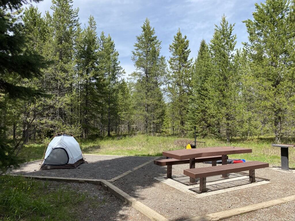 small tent and picnic site at developed camp site