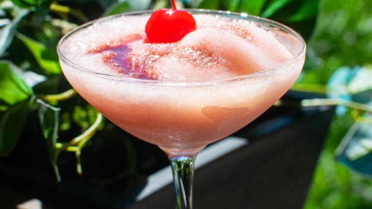 Cherry Bomb Frosé in a cocktail glass