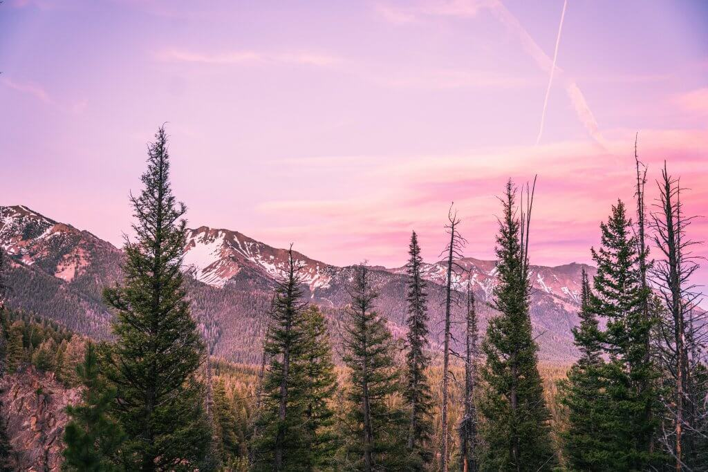 mountains at sunset with pink skies