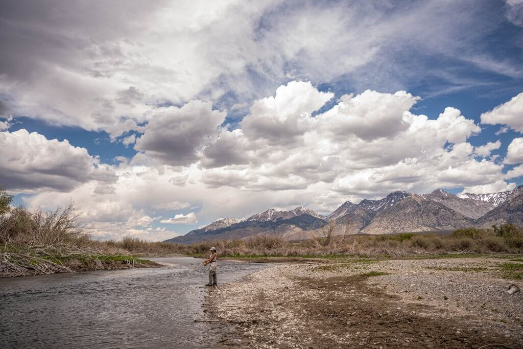 woman fly fishing in a stream
