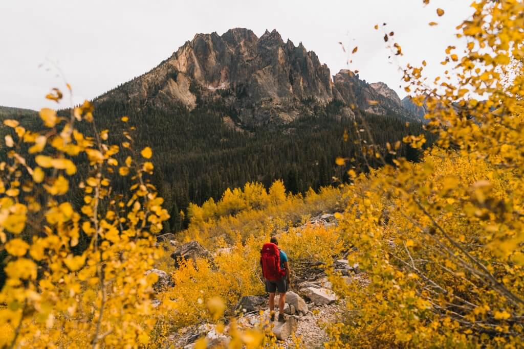 a hiker with a red backpack stands among yellow trees, looking at the Elephant's Perch in the Sawtooth Mountains in Idaho